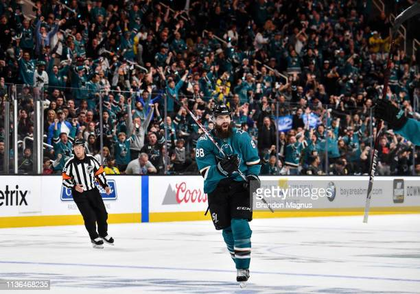 Brent Burns of the San Jose Sharks celebrates after scoring against the Vegas Golden Knights in Game One of the Western Conference First Round during...