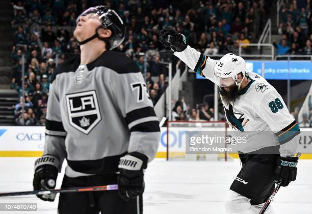 Brent Burns of the San Jose Sharks celebrates his goal against the Los Angeles Kings at SAP Center on December 22 2018 in San Jose California