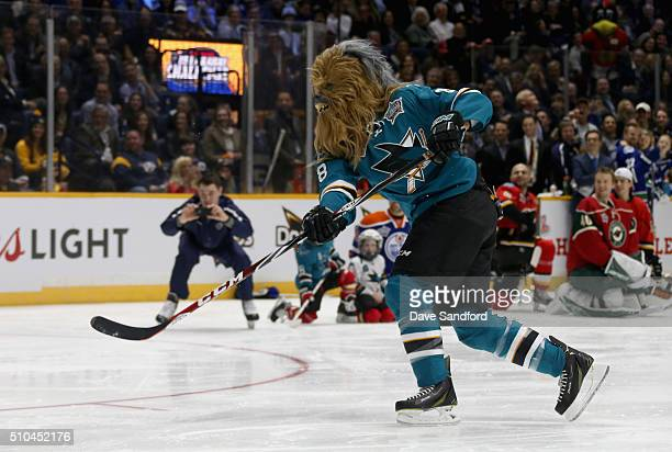 Brent Burns of the San Jose Sharks competes in the Honda NHL Breakaway Challenge during 2016 Honda NHL AllStar Skill Competition at Bridgestone Arena...