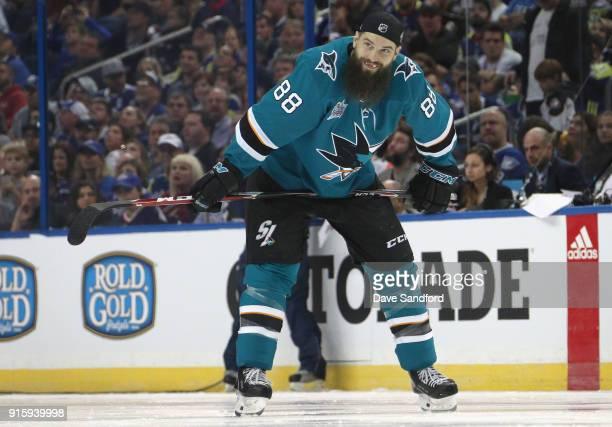 Brent Burns of the San Jose Sharks competes in the PPG NHL Hardest Shot challenge during 2018 GEICO NHL AllStar Skills Competition at Amalie Arena on...