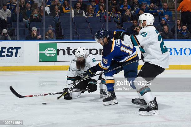 Brent Burns of the San Jose Sharks defends against Robby Fabbri of the St Louis Blues at Enterprise Center on November 9 2018 in St Louis Missouri