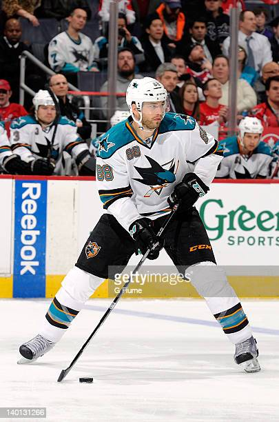 Brent Burns of the San Jose Sharks handles the puck against the Washington Capitals at the Verizon Center on February 13 2012 in Washington DC