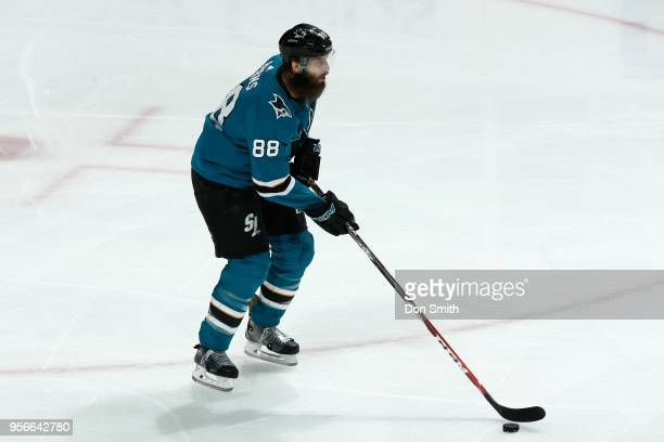 Brent Burns of the San Jose Sharks handles the puck in Game Six of the Western Conference Second Round against the Vegas Golden Knights during the...