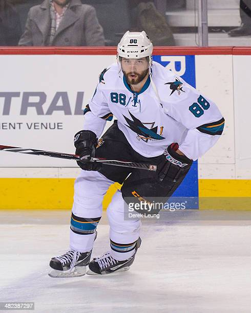 Brent Burns of the San Jose Sharks in action against the Calgary Flames during an NHL game at Scotiabank Saddledome on March 24 2014 in Calgary...