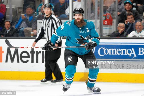Brent Burns of the San Jose Sharks looks on during a NHL game against the Arizona Coyotes at SAP Center on February 13 2018 in San Jose California