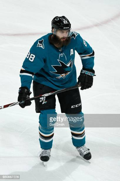 Brent Burns of the San Jose Sharks looks on during a NHL game against the Washington Capitols at SAP Center on March 10 2018 in San Jose California