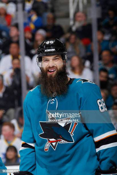 Brent Burns of the San Jose Sharks looks on during the game against the Arizona Coyotes at SAP Center on January 13 2018 in San Jose California