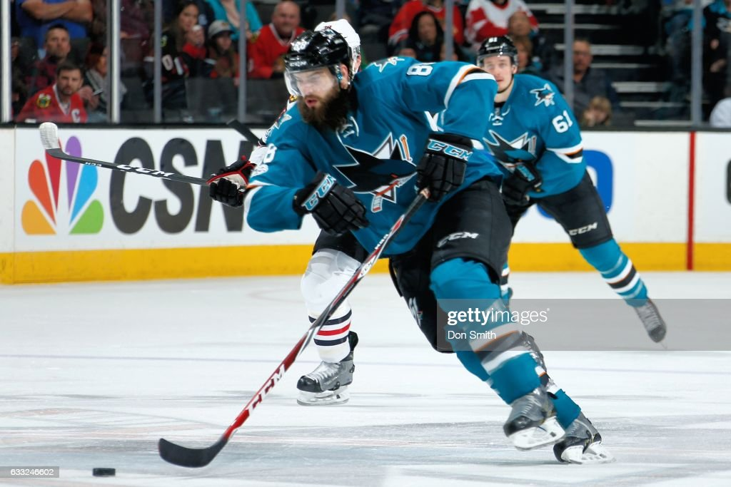 Brent Burns #88 of the San Jose Sharks moves the puck during a NHL game against the Chicago Blackhawks at SAP Center at San Jose on January 31, 2017 in San Jose, California.