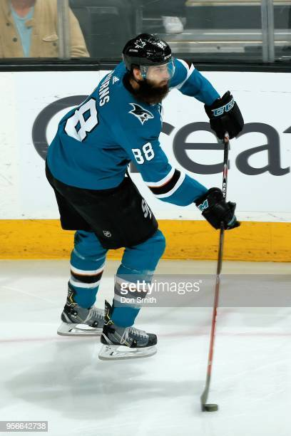 Brent Burns of the San Jose Sharks moves the puck in Game Six of the Western Conference Second Round against the Vegas Golden Knights during the 2018...