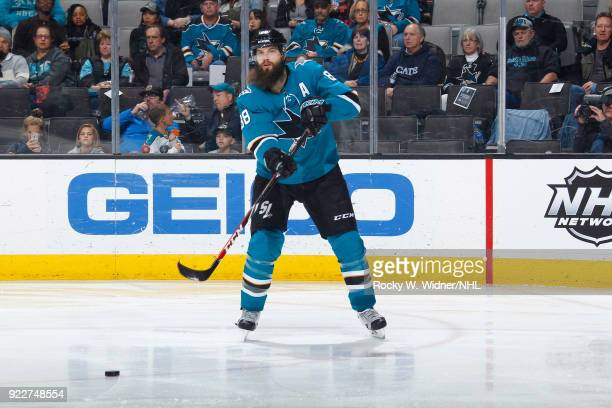 Brent Burns of the San Jose Sharks passes the puck against the Dallas Stars at SAP Center on February 18 2018 in San Jose California