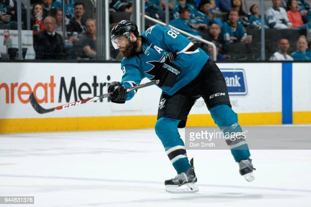 Brent Burns of the San Jose Sharks passes the puck during a NHL game against the Minnesota Wild at SAP Center on April 7 2018 in San Jose California...