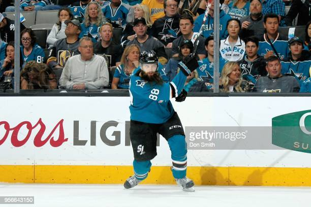 Brent Burns of the San Jose Sharks passes the puck in Game Six of the Western Conference Second Round against the Vegas Golden Knights during the...