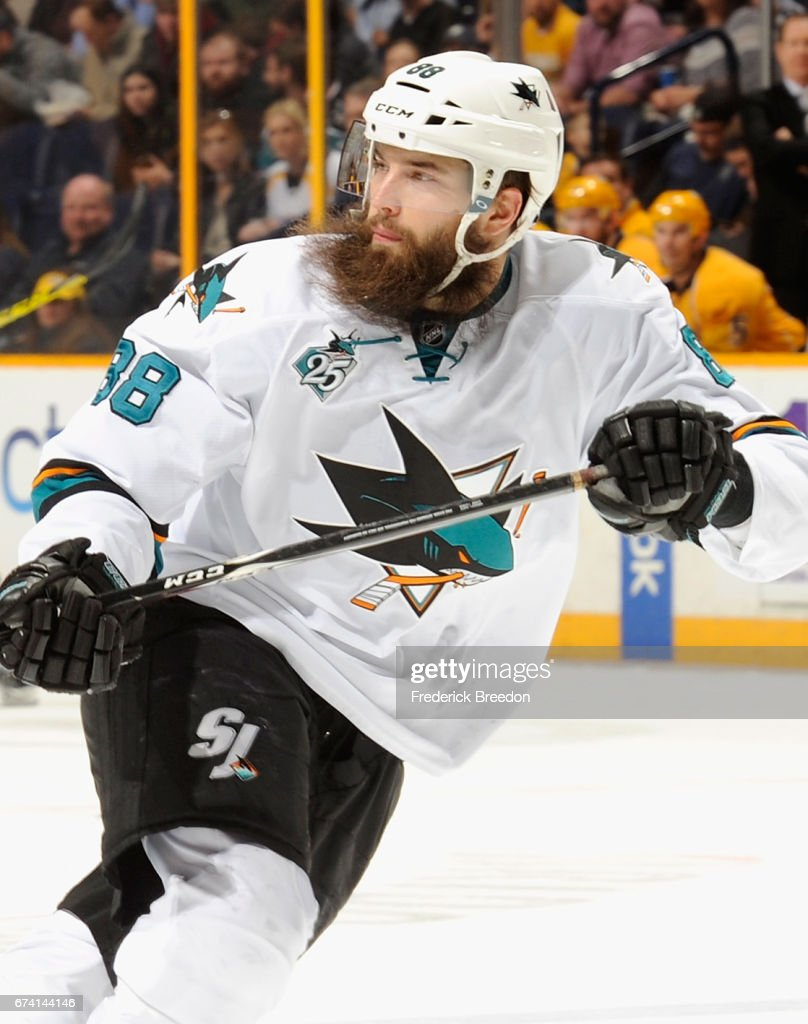 Brent Burns of the San Jose Sharks plays in the game against the ... 266de8589