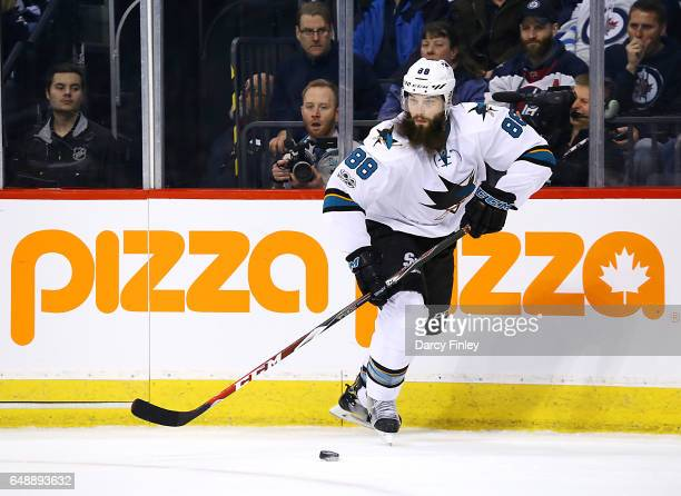 Brent Burns of the San Jose Sharks plays the puck up the ice during first period action against the San Jose Sharks at the MTS Centre on March 6 2017...