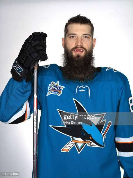 Brent Burns of the San Jose Sharks poses for a portrait during the 2018 NHL AllStar at Amalie Arena on January 27 2018 in Tampa Florida