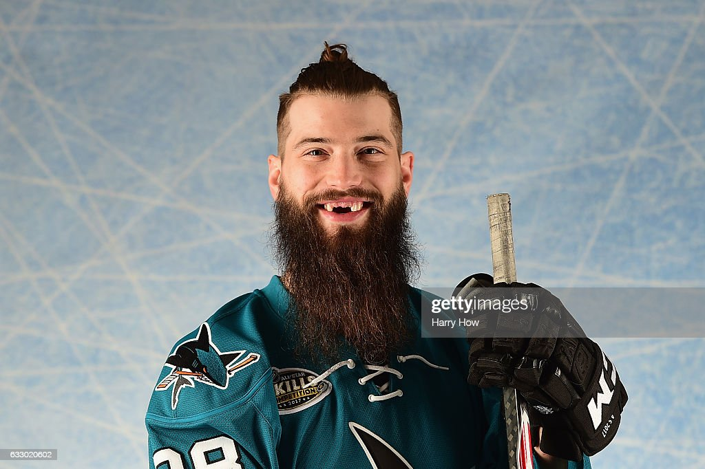 Brent Burns #88 of the San Jose Sharks poses for a portrait prior to the 2017 Honda NHL All-Star Game at Staples Center on January 29, 2017 in Los Angeles, California.