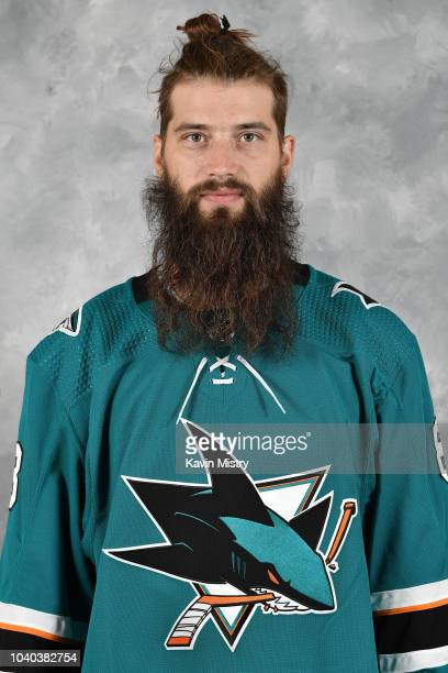Brent Burns of the San Jose Sharks poses for his official headshot for the 20182019 season at Solar4America on September 13 2018 in San Jose...