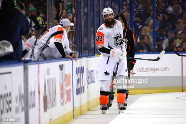 Brent Burns of the San Jose Sharks reacts after scoring in the second half during the 2018 Honda NHL AllStar Game between the Central Division and...