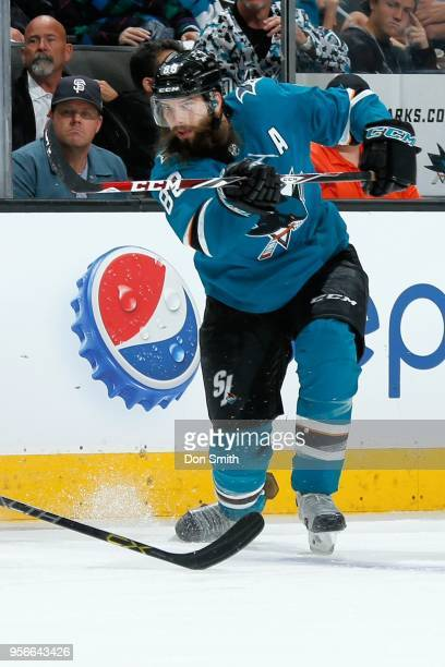 Brent Burns of the San Jose Sharks shoots the puck in Game Six of the Western Conference Second Round against the Vegas Golden Knights during the...