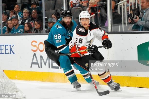 Brent Burns of the San Jose Sharks skates against Brandon Montour of the Anaheim Ducks at SAP Center on November 4 2017 in San Jose California