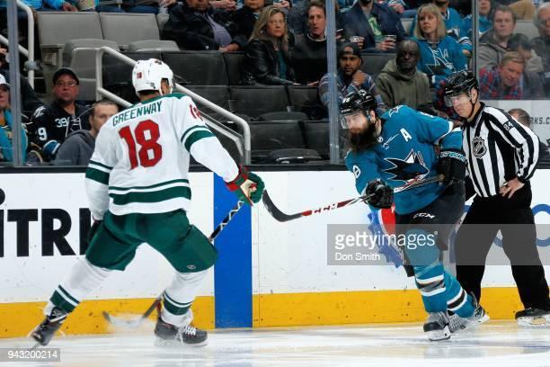 Brent Burns of the San Jose Sharks skates against Jordan Greenway of the Minnesota Wild at SAP Center on April 7 2018 in San Jose California