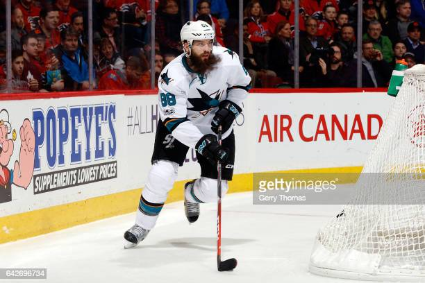 Brent Burns of the San Jose Sharks skates against the Calgary Flames during an NHL game on January 11 2017 at the Scotiabank Saddledome in Calgary...