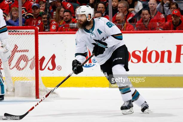 Brent Burns of the San Jose Sharks skates against the Calgary Flames during an NHL game on March 16 2018 at the Scotiabank Saddledome in Calgary...