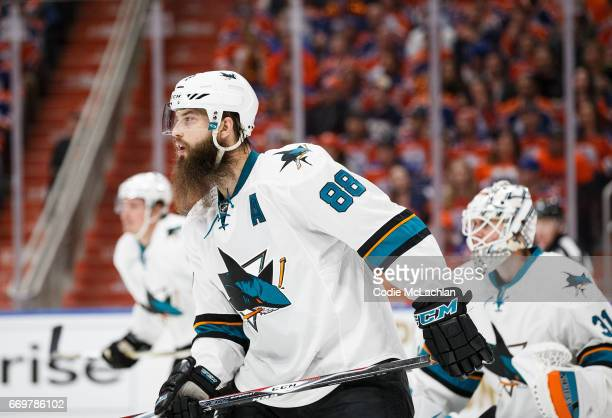 Brent Burns of the San Jose Sharks skates against the Edmonton Oilers in Game Two of the Western Conference First Round during the 2017 NHL Stanley...