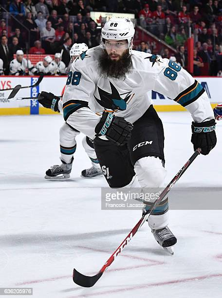 Brent Burns of the San Jose Sharks skates against the Montreal Canadiens in the NHL game at the Bell Centre on December 16 2016 in Montreal Quebec...