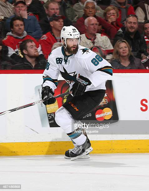 Brent Burns of the San Jose Sharks skates against the Ottawa Senators at Canadian Tire Centre on March 23 2015 in Ottawa Ontario Canada