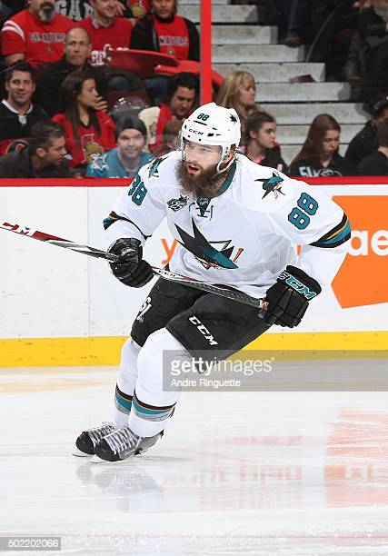 Brent Burns of the San Jose Sharks skates against the Ottawa Senators at Canadian Tire Centre on December 18 2015 in Ottawa Ontario Canada