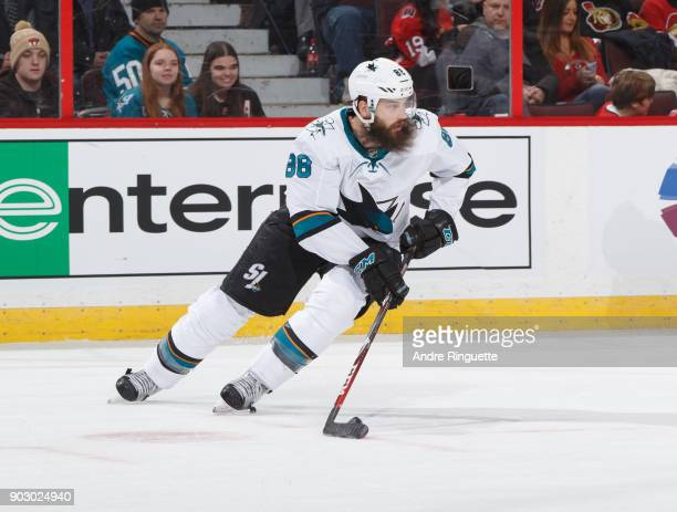 Brent Burns of the San Jose Sharks skates against the Ottawa Senators at Canadian Tire Centre on January 5 2018 in Ottawa Ontario Canada