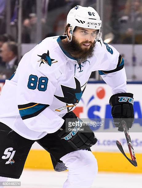 Brent Burns of the San Jose Sharks skates against the Toronto Maple Leafs during the first period at the Air Canada Centre on December 13 2016 in...