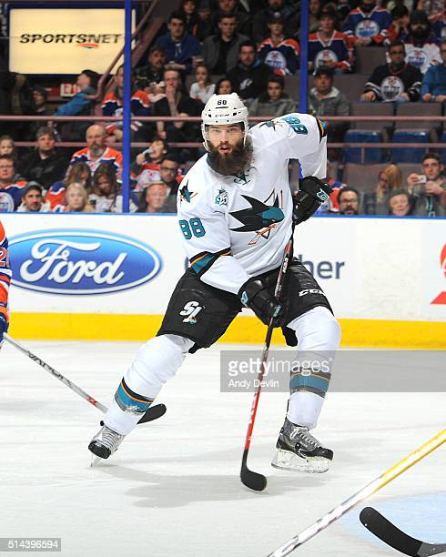 Brent Burns of the San Jose Sharks skates during a game against the SEdmonton Oilers on March 8 2016 at Rexall Place in Edmonton Alberta Canada
