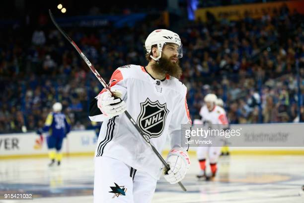 Brent Burns of the San Jose Sharks skates during the 2018 Honda NHL AllStar Game between the Atlantic Division and the Pacific Divison at Amalie...