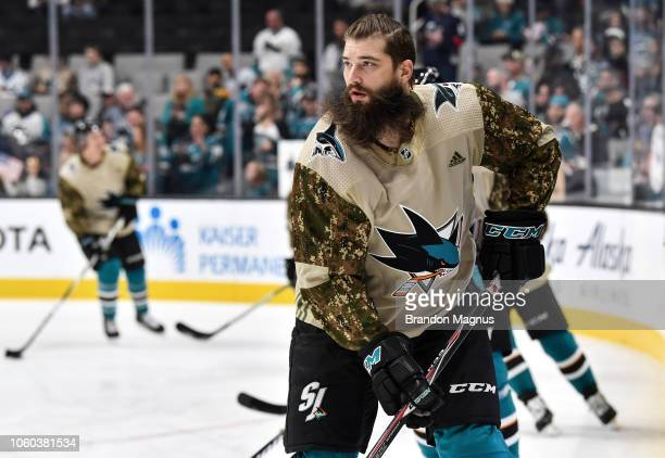 Brent Burns of the San Jose Sharks skates during warmups before the game against the Calgary Flames at SAP Center on November 11 2018 in San Jose...