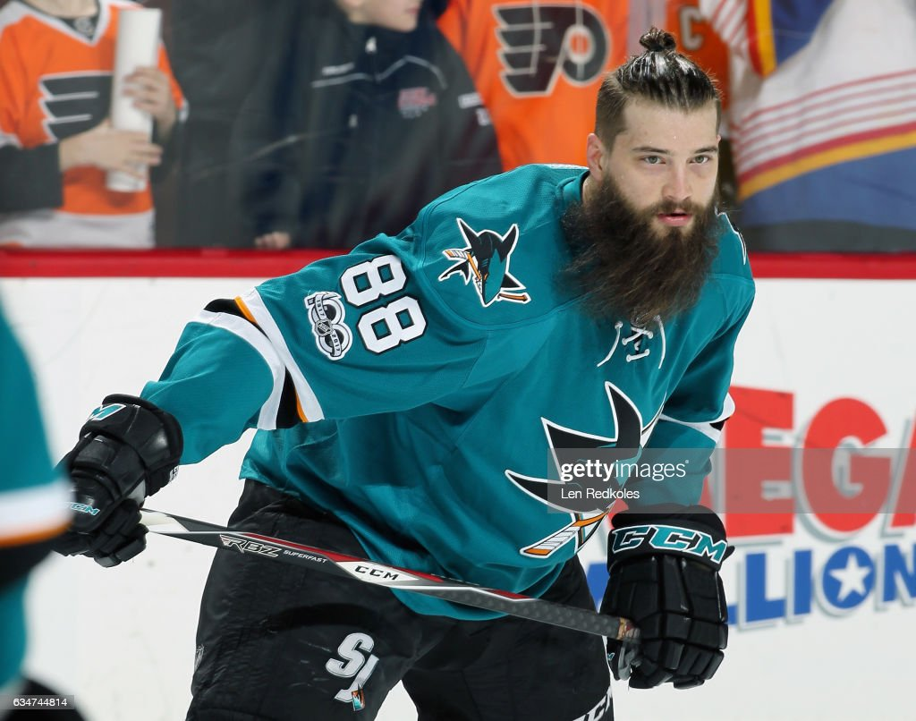 Brent Burns #88 of the San Jose Sharks skates during warmups prior to his game against the Philadelphia Flyers on February 11, 2017 at the Wells Fargo Center in Philadelphia, Pennsylvania.