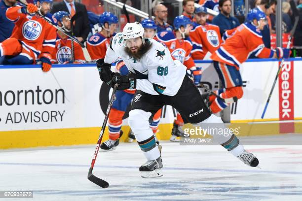 Brent Burns of the San Jose Sharks skates in Game Five of the Western Conference First Round during the 2017 NHL Stanley Cup Playoffs against the...