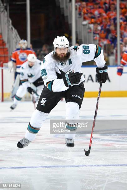 Brent Burns of the San Jose Sharks skates in Game Two of the Western Conference First Round during the 2017 NHL Stanley Cup Playoffs against the...