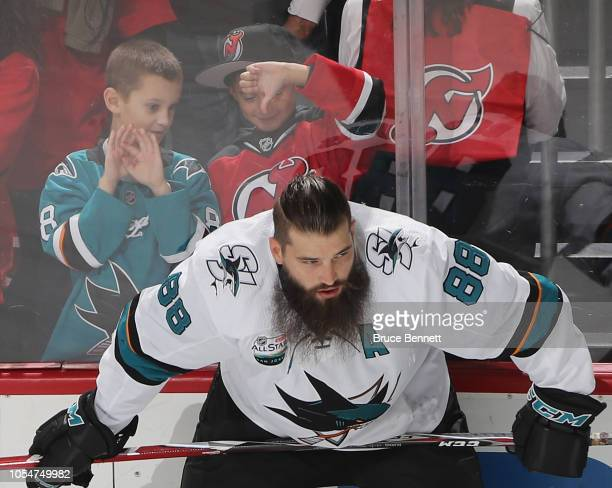 Brent Burns of the San Jose Sharks skates in warmups in front of fans prior to the game against the New Jersey Devils at the Prudential Center on...