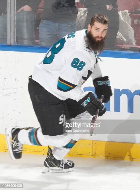 Brent Burns of the San Jose Sharks skates prior to the game against the Florida Panthers at the BBT Center on January 21 2019 in Sunrise Florida