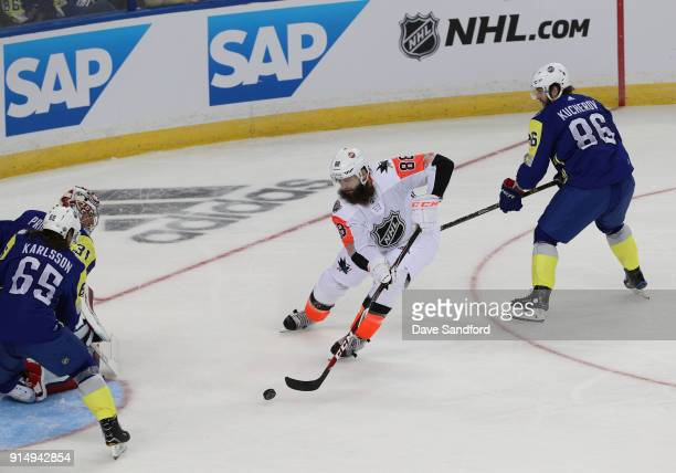 Brent Burns of the San Jose Sharks skates to the net with the puck during the 2018 Honda NHL AllStar Game between the Atlantic Division and the...