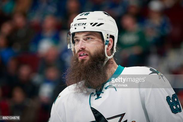 Brent Burns of the San Jose Sharks skates up ice during their NHL game against the Vancouver Canucks at Rogers Arena February 25 2017 in Vancouver...