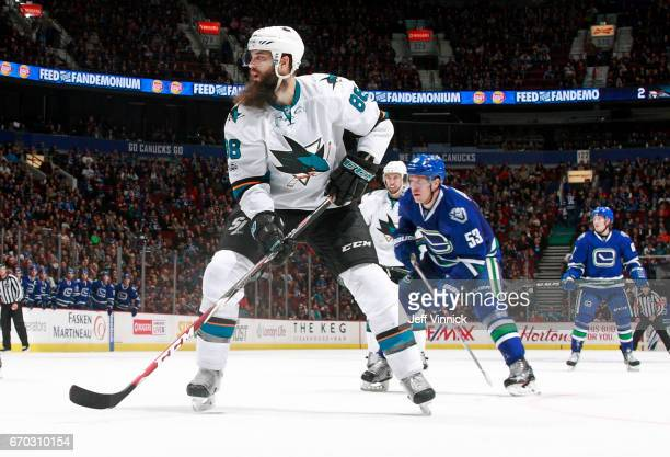 Brent Burns of the San Jose Sharks skates up ice during their NHL game against the Vancouver Canucks at Rogers Arena April 2 2017 in Vancouver...