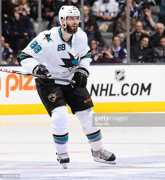 Brent Burns of the San Jose Sharks skates up the ice during game action against the Toronto Maple Leafs on March 19 2015 at Air Canada Centre in...
