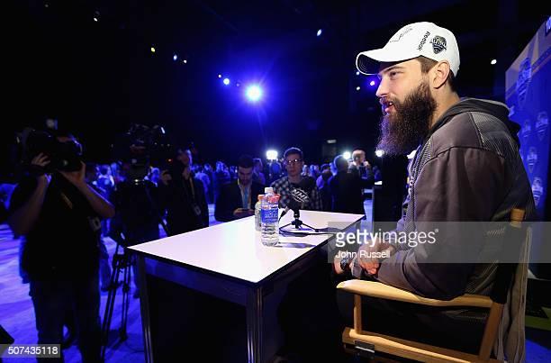 Brent Burns of the San Jose Sharks speaks during Media Day for the 2016 NHL AllStar Game at Bridgestone Arena on January 29 2016 in Nashville...