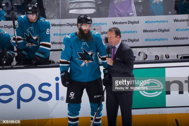 Brent Burns of the San Jose Sharks speaks with media during the game against the Arizona Coyotes at SAP Center on January 13 2018 in San Jose...