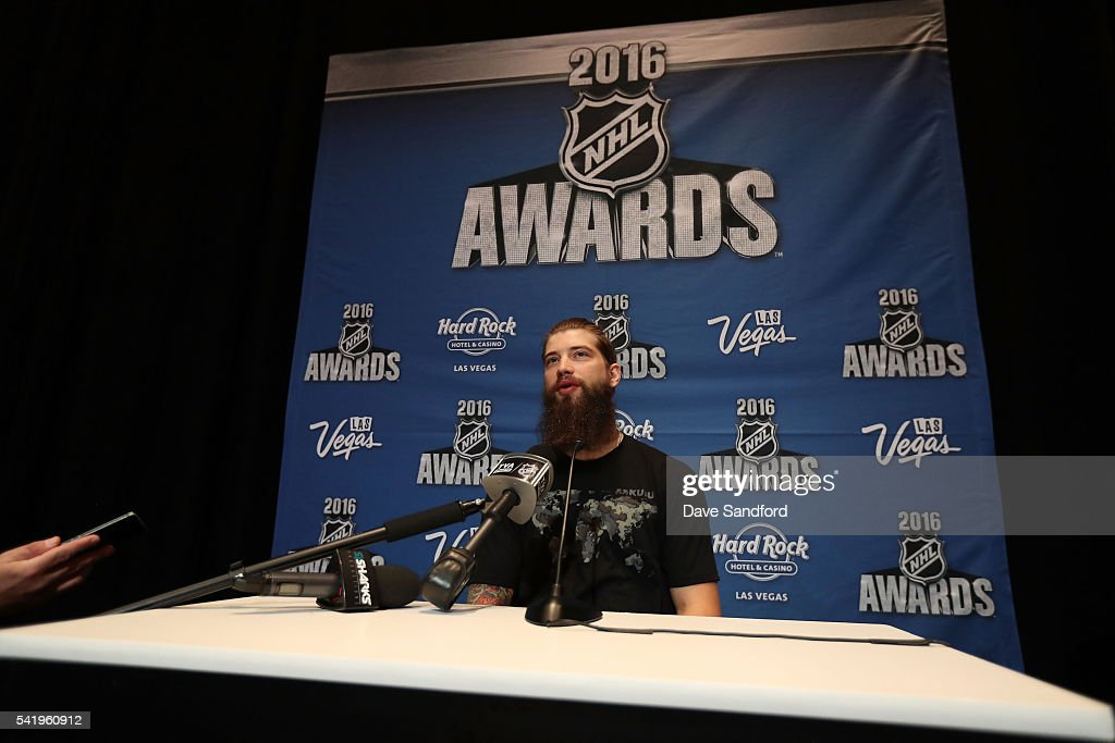 Brent Burns of the San Jose Sharks speaks with the media during a press availability at the Encore Ballroom on June 21, 2016 in Las Vegas, Nevada.