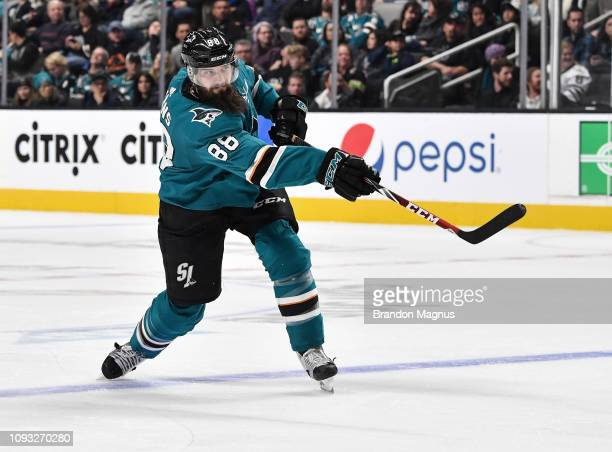 Brent Burns of the San Jose Sharks takes a shot on goal against the Arizona Coyotes at SAP Center on February 2 2018 in San Jose California
