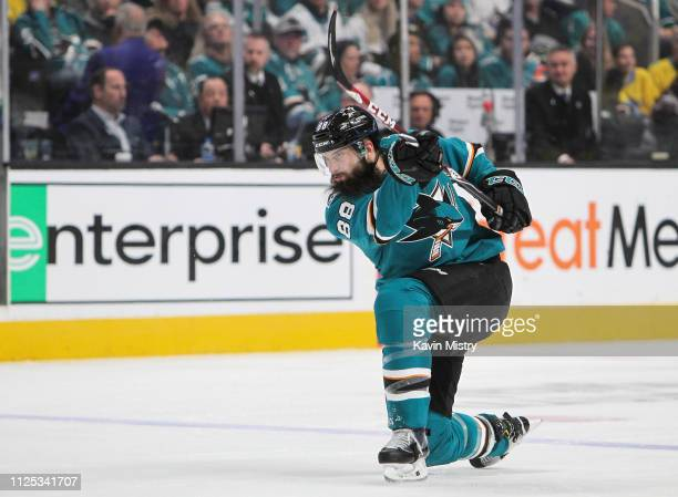 Brent Burns of the San Jose Sharks takes a shot on goal against the Vancouver Canucks at SAP Center on February 16 2019 in San Jose California
